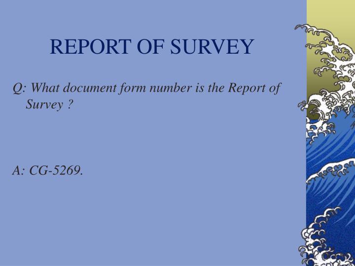 REPORT OF SURVEY