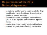 requirement of the 2012 national agreement