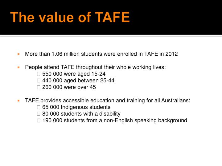 The value of TAFE