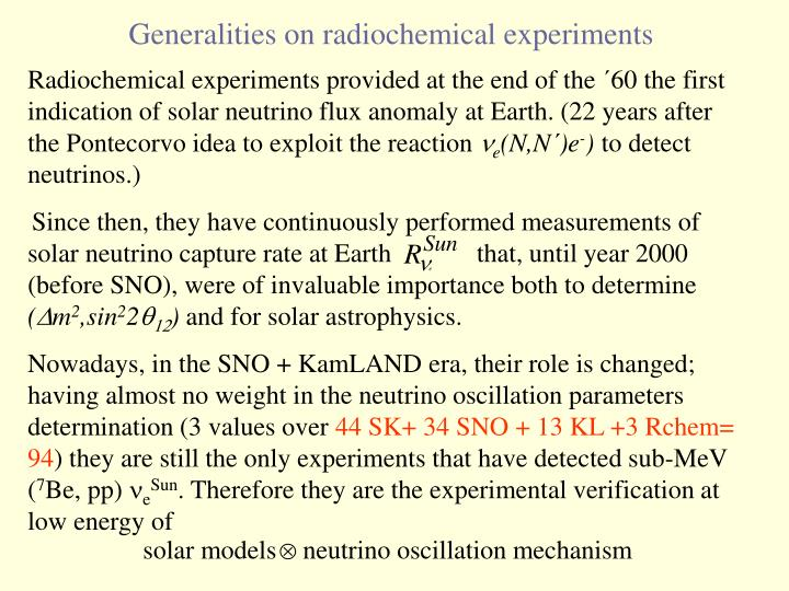 Radiochemical experiments provided at the end of the