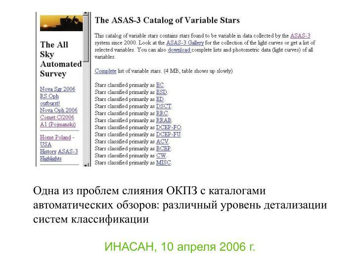 Одна из проблем слияния ОКПЗ с каталогами автоматических обзоров