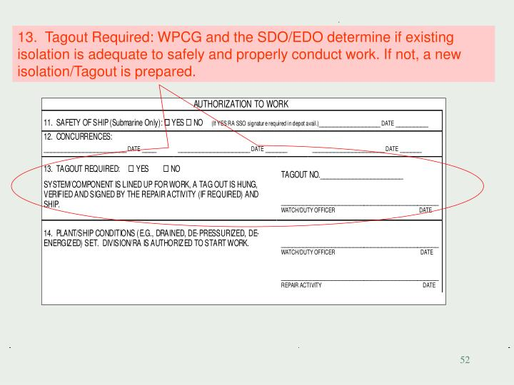 13.  Tagout Required: WPCG and the SDO/EDO determine if existing isolation is adequate to safely and properly conduct work. If not, a new isolation/Tagout is prepared.
