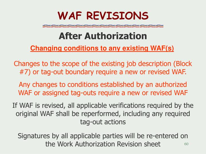 WAF REVISIONS