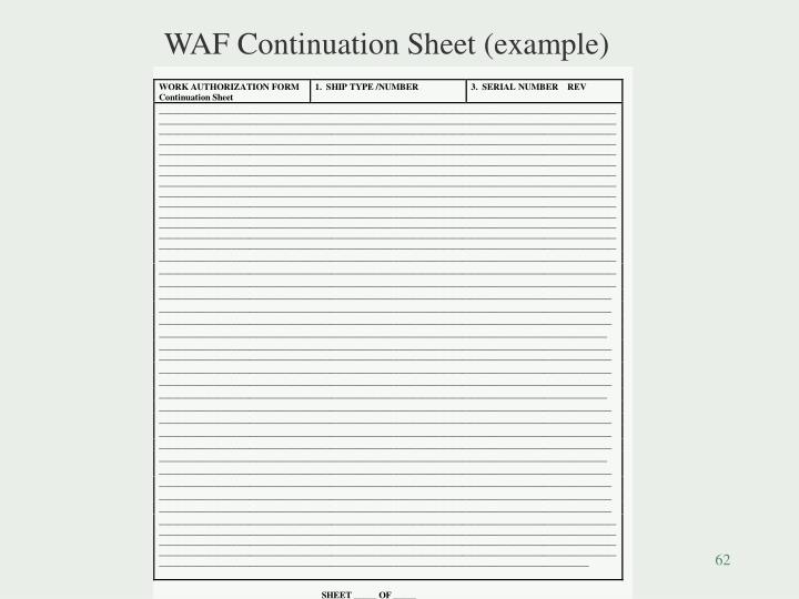 WAF Continuation Sheet (example)