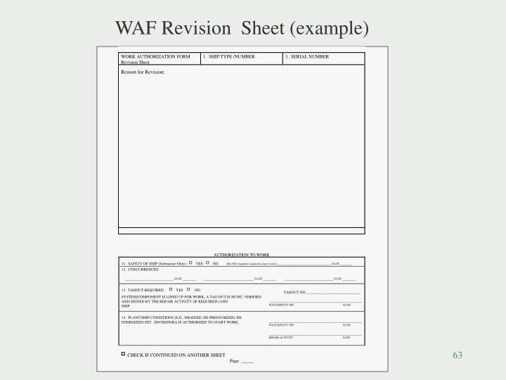 WAF Revision  Sheet (example)