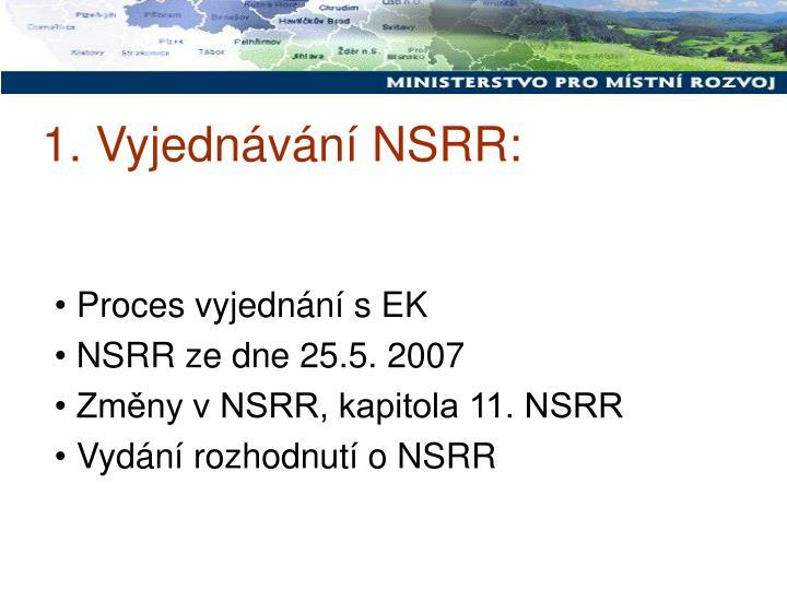 1. Vyjednávání NSRR: