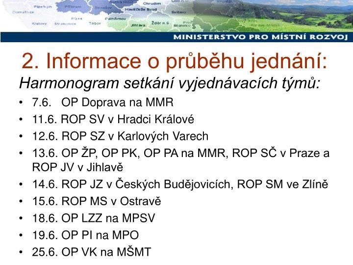 2. Informace o průběhu jednání: