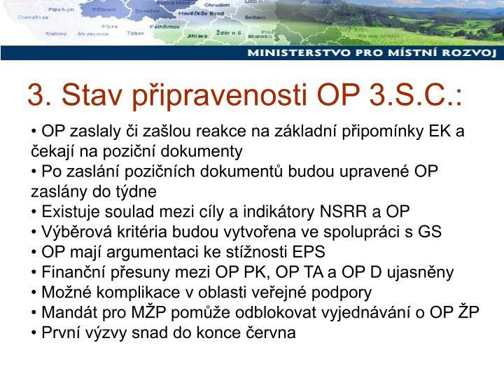 3. Stav připravenosti OP 3.S.C.: