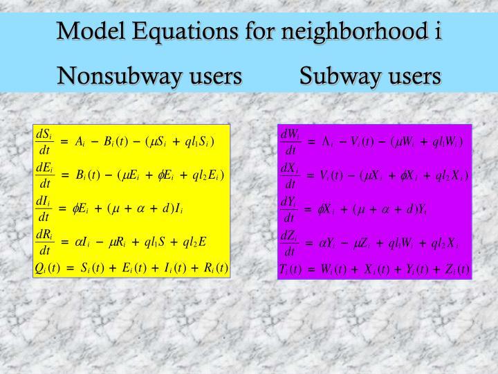 Model Equations for neighborhood i