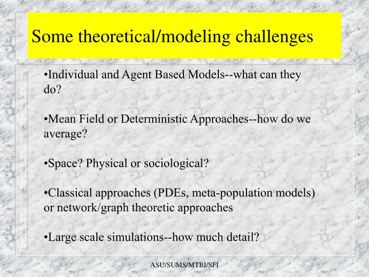 Some theoretical/modeling challenges