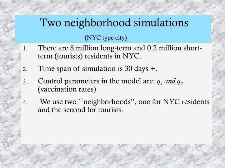 Two neighborhood simulations