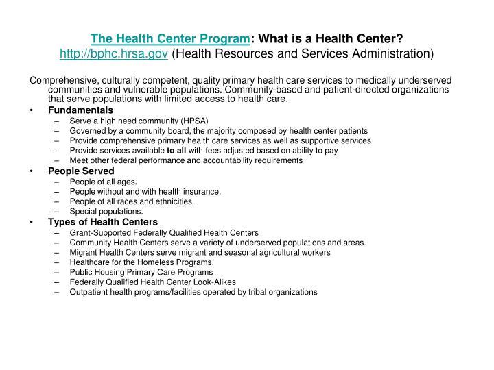 The Health Center Program