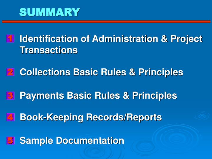 Identification of Administration & Project
