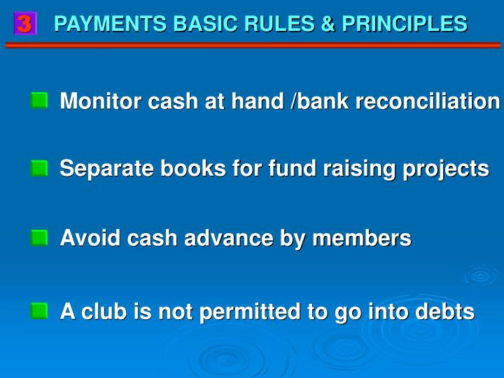 Monitor cash at hand /bank reconciliation