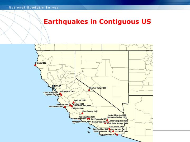 Earthquakes in Contiguous US