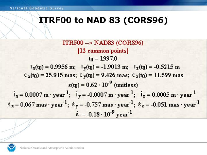 ITRF00 to NAD 83 (CORS96)
