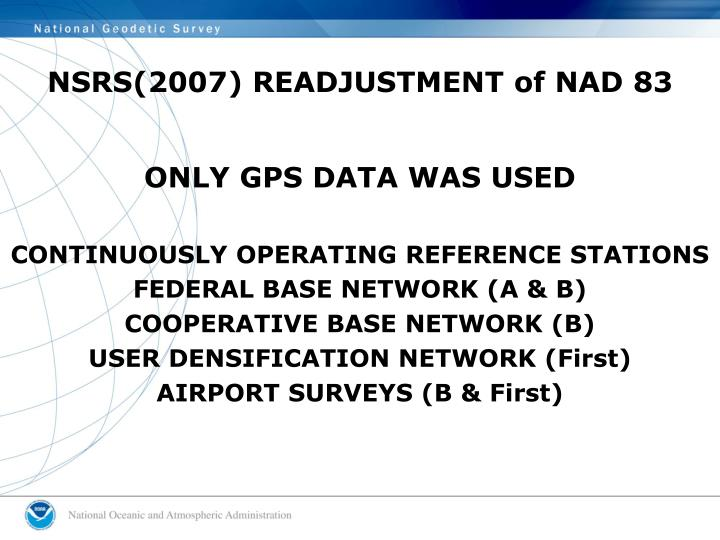 NSRS(2007) READJUSTMENT of NAD 83