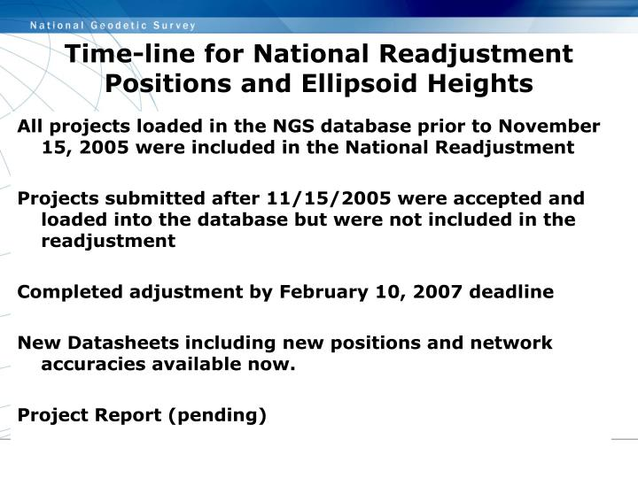 Time-line for National Readjustment