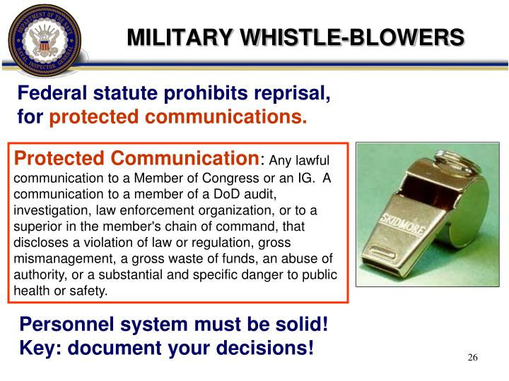 MILITARY WHISTLE-BLOWERS
