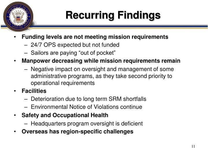 Recurring Findings