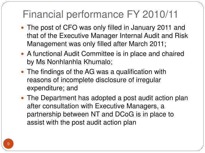 Financial performance FY 2010/11