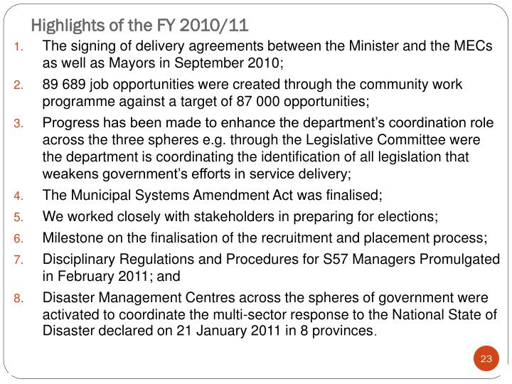 Highlights of the FY 2010/11