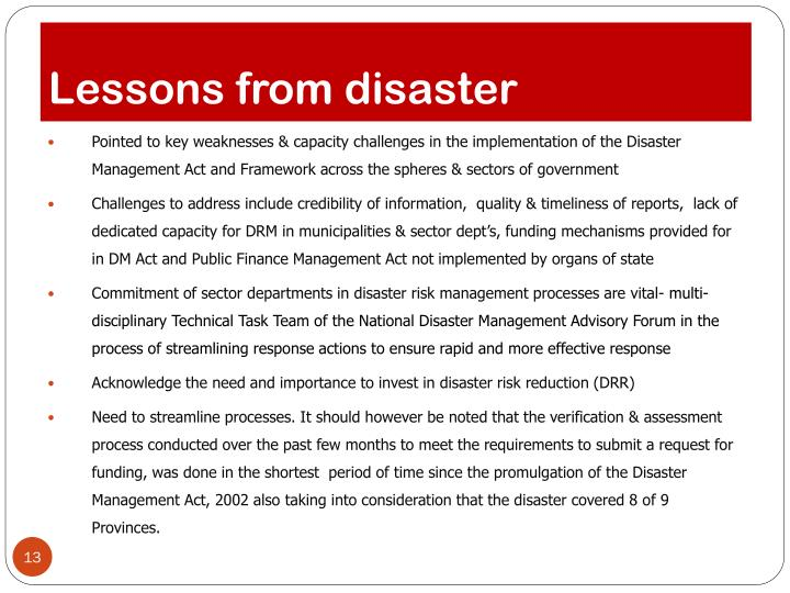 Lessons from disaster