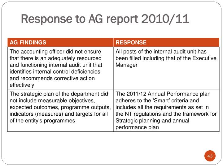Response to AG report 2010/11