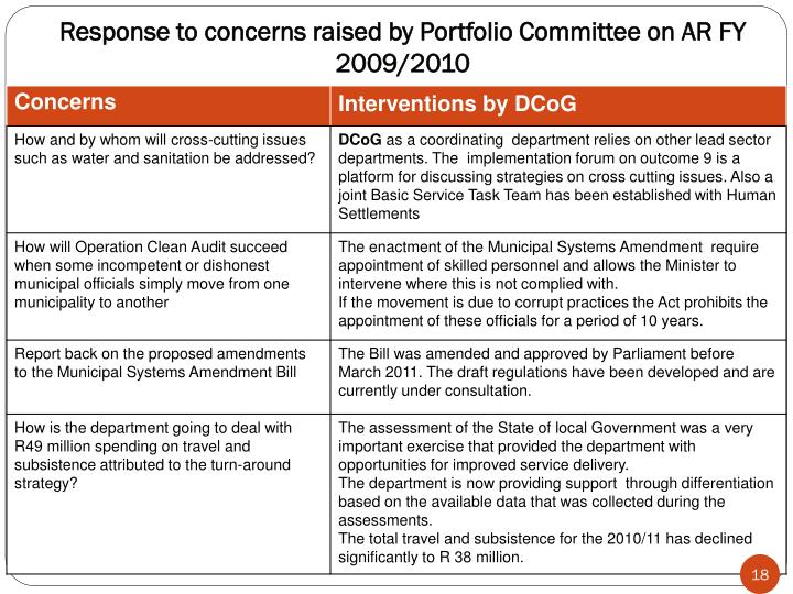Response to concerns raised by Portfolio Committee on AR FY 2009/2010