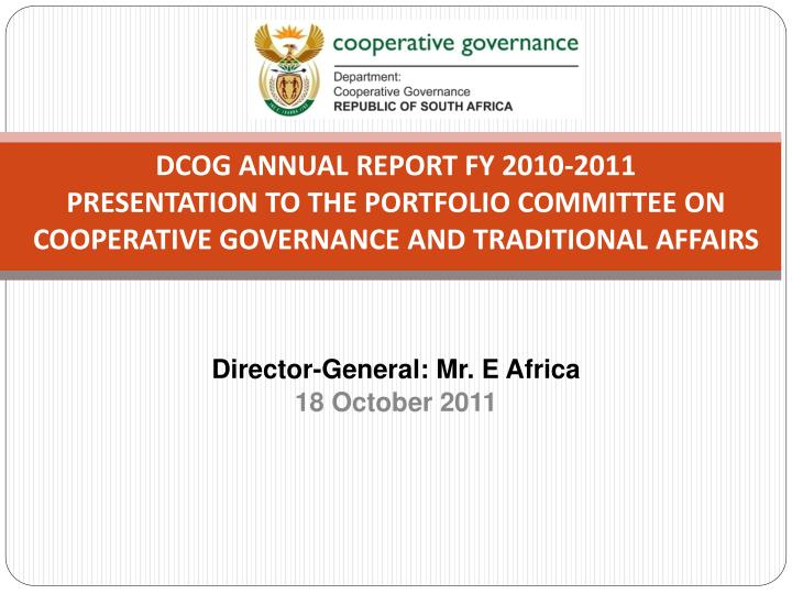 DCoG Annual report FY 2010-2011