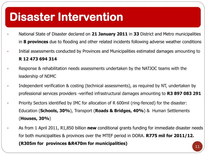 National State of Disaster declared on