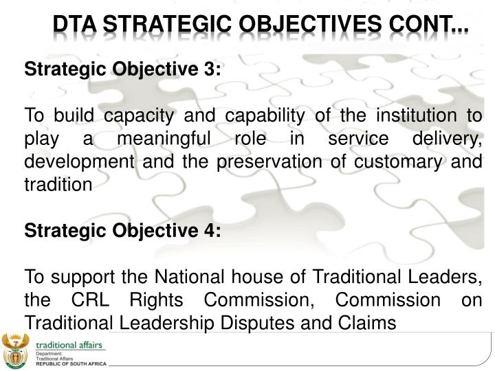 DTA STRATEGIC OBJECTIVES CONT...