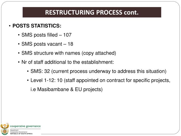 RESTRUCTURING PROCESS cont.