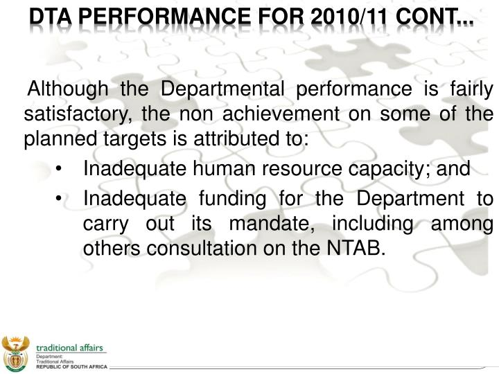 DTA PERFORMANCE FOR 2010/11 CONT...