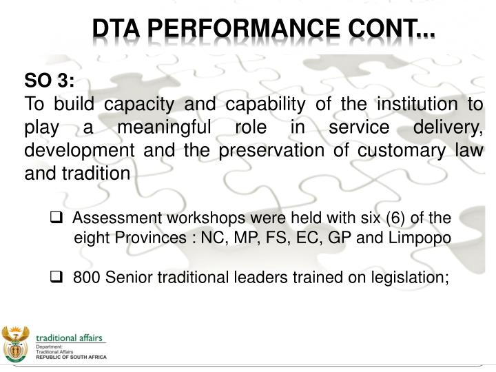 DTA PERFORMANCE CONT...
