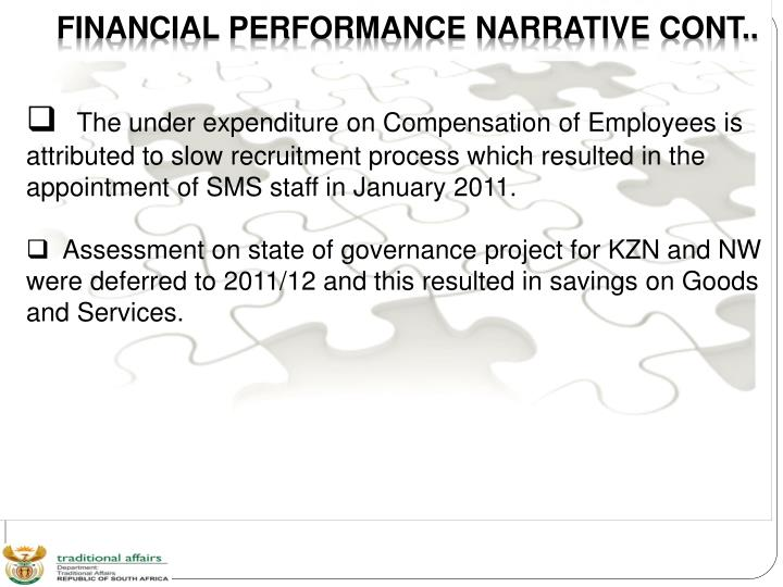 FINANCIAL PERFORMANCE NARRATIVE CONT..