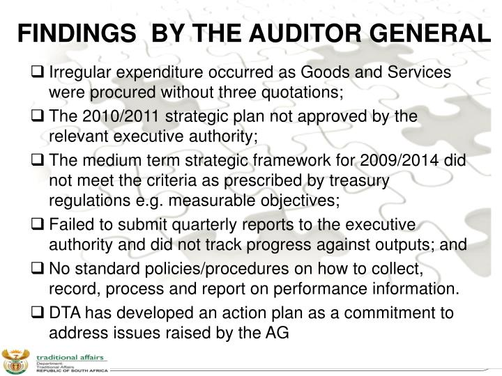 FINDINGS  BY THE AUDITOR GENERAL