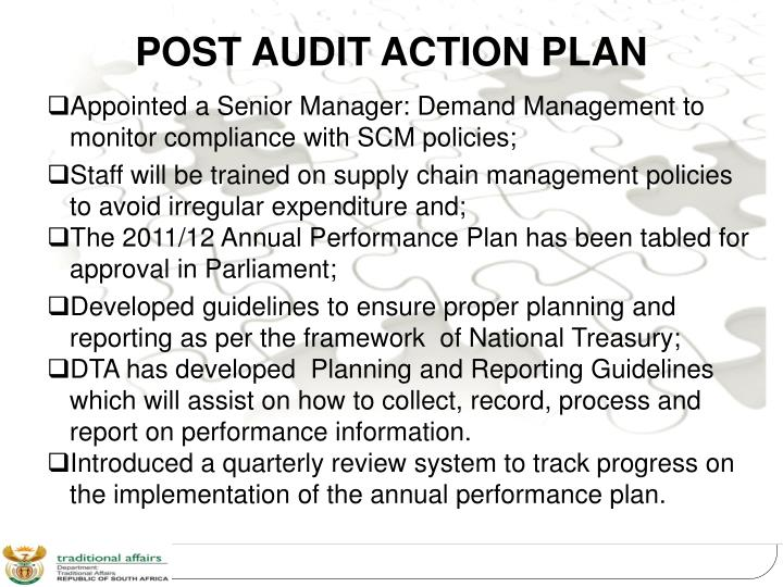 POST AUDIT ACTION PLAN