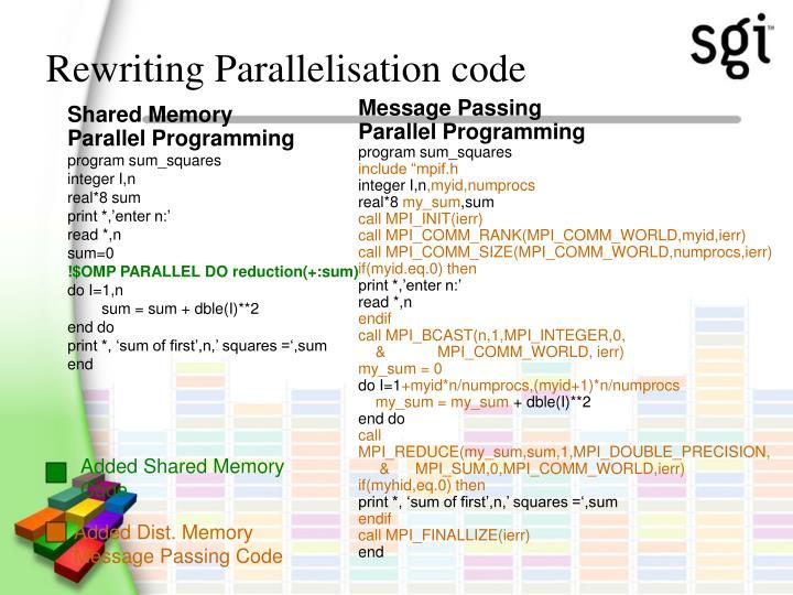 Rewriting Parallelisation code