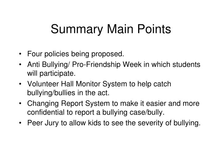 Summary Main Points
