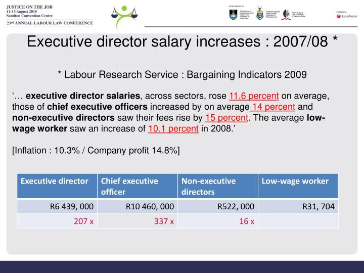 Executive director salary increases : 2007/08 *