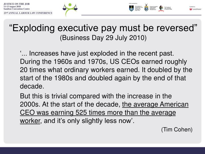 """Exploding executive pay must be reversed"""