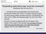 exploding executive pay must be reversed business day 29 july 2010