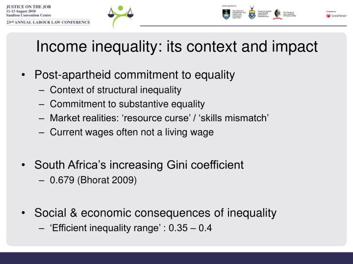 Income inequality: its context and impact
