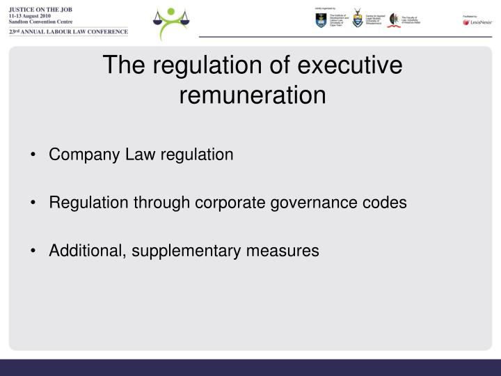 The regulation of executive remuneration