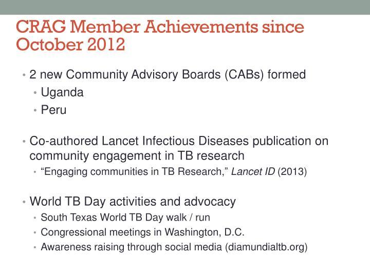 CRAG Member Achievements since October 2012
