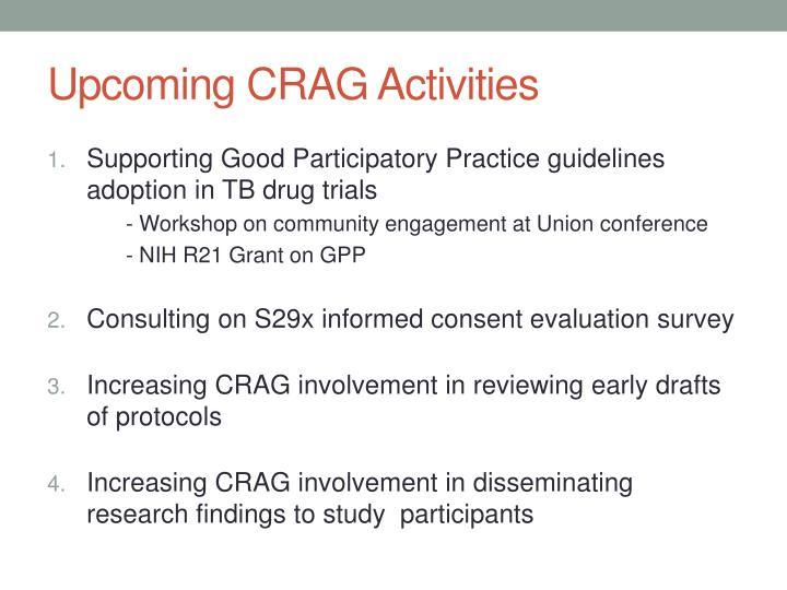 Upcoming CRAG Activities