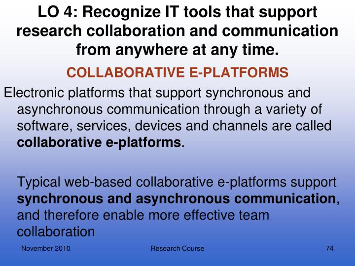 LO 4: Recognize IT tools that support research collaboration and communication from anywhere at any time.