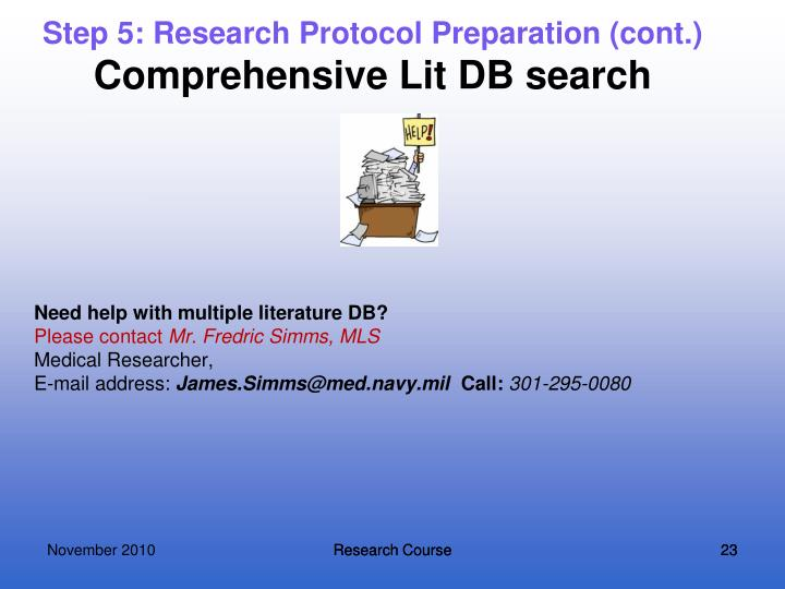 Step 5: Research Protocol Preparation (cont.)