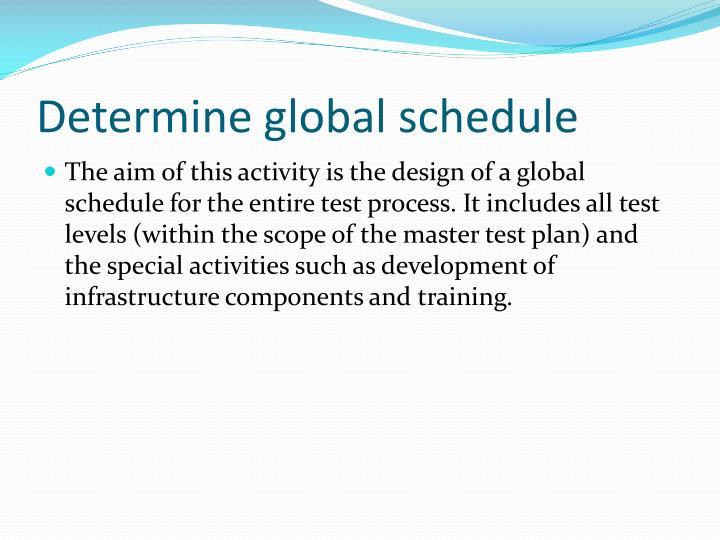 Determine global schedule